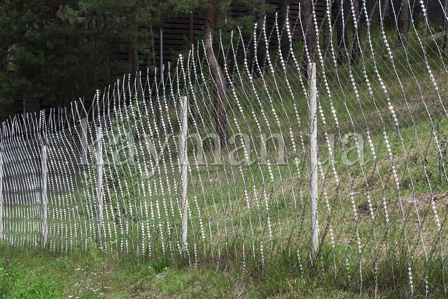 Забор из сетки рабица, усиленный колючей сеткой Кайман