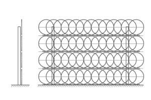Four row Kayman flat obstacle fence drawing