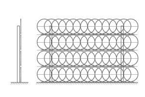 Чертеж забора из плоского заграждения Кайман в четыре ряда