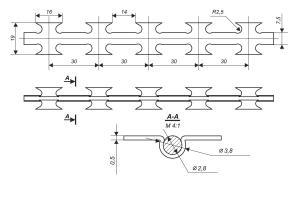 Креслення колючого дроту Кайман для паркану зі зварної сітки та колючої сітки Кайман