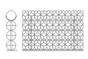 Kayman concertina barrier in four row drawing