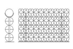 Чертеж ограждения из четырех рядов спирального барьера Кайман