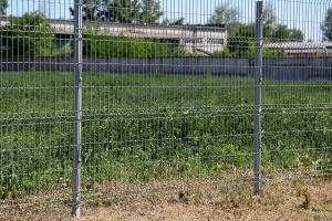 Welded panel metal fence