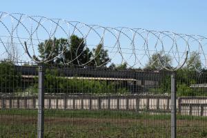 Спираль Кайман на заборе из сварных панелей